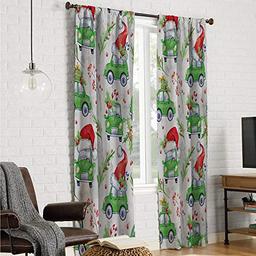 Mozenou Backtab Window Panel Window Curtain 2 Panel Cars,Noel New Year Celebrations Christmas Composition with Green Cars Santa Hats,Lime Green Scarlet W108 x L84 Inch]()