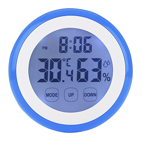 GuDoQi Digital Hygrometer Thermometer Touch Screen Backlight Temperature and Humidity Meter with Multi Functionality Display for Home Office Baby Room Blue