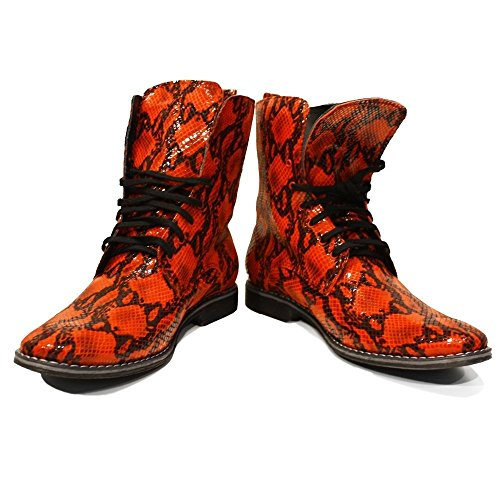 PeppeShoes Modello Cerberus - Handmade Italian Leather Mens Red High Boots - Cowhide Embossed Leather - Lace-Up ZoKAYnbSE