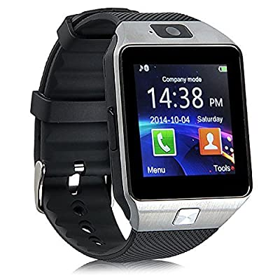 Airsspu Tm Bluetooth Smart Watch Wrist Watch Phone Touch Screen Mate for Samsung Iphone Smartphones (Silver)