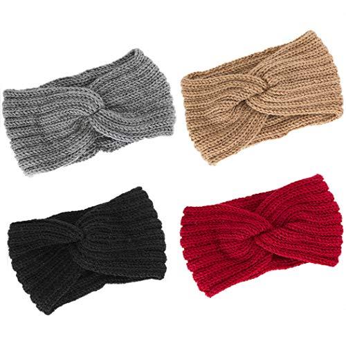 Raylans Women Flower Crochet Knitted Wide Headband Ear Warmer Head Wrap