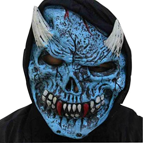 [VESNIBA Terrorist Face Mask Halloween Party Latex Funny Mask (Blue)] (Out Of This World Alien Costume)