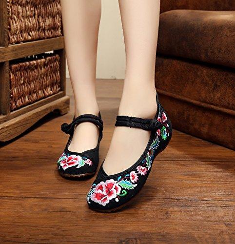 Stile Comodi Tendine Di Black Ricamate Da Ballo Ming Scarpe Femminile Unico Stoffa Etnico Moda xYAvYI6wn