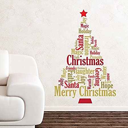wallflexi christmas decorations wall stickers english quotes christmas tree wall murals decals - Christmas Decoration Quotes