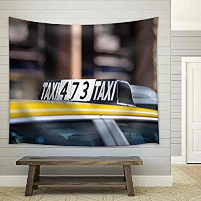Taxi Sign in Big City Close Up Fabric Wall, That You Will Love, Elegant Piece of Art