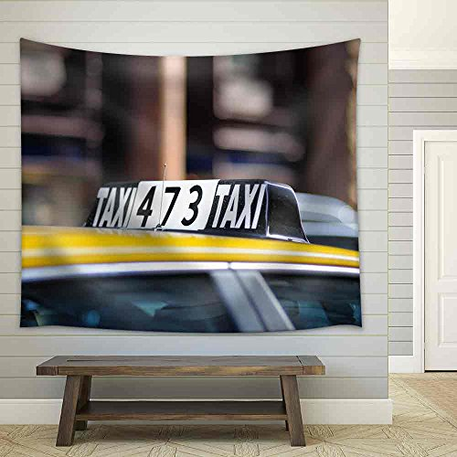 Taxi Sign in Big City Close Up Fabric Wall Tapestry