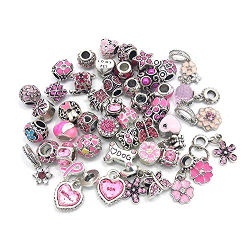 YIQIFLY 40pcs Jewelry Making Charms Rhinesotone Beads Assorted Colors and Styles Randomly -
