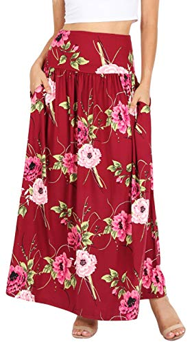 Womens Long Maxi Skirt with Pockets Reg and Plus Size - Made in The USA (Size XXX-Large US 16-18, Burgundy Rose Floral) ()