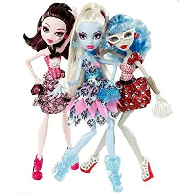 Monster High Doll Exclusive Dot Dead Gorgeous ~ 3 Pack Draculaura, Abbey Bominable, Ghoulia Yelps: Toys & Games