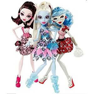 monster high doll exclusive dot dead gorgeous 3 pack draculaura abbey bominable ghoulia yelps
