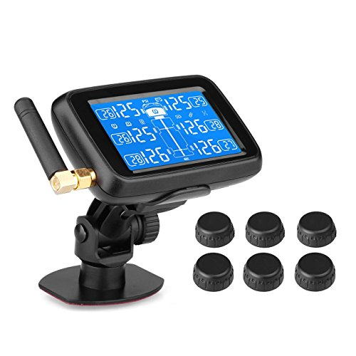 B-Qtech Tire Pressure Monitoring System Wireless TPMS with 6 Sensors for RV Trailer Truck ()