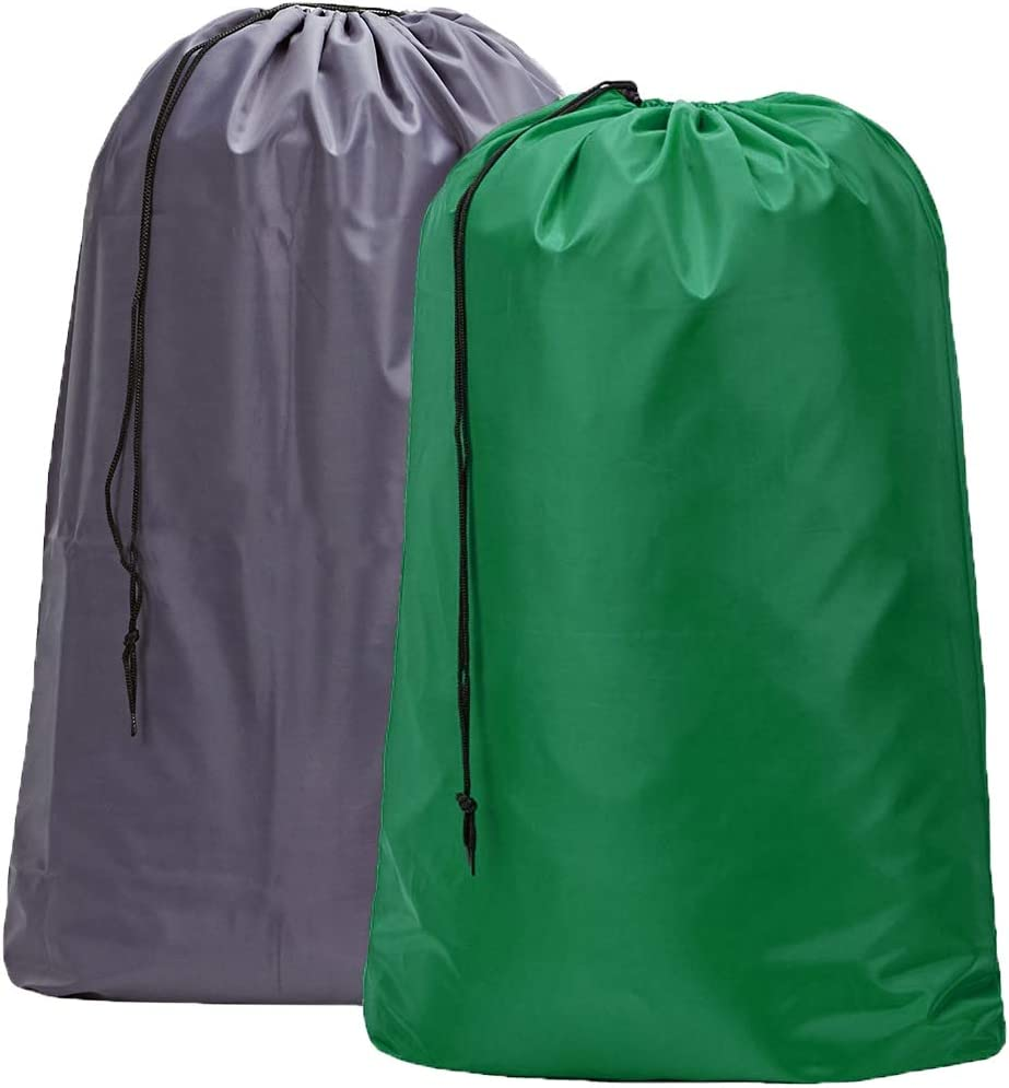 HOMEST 2 Pack Large Nylon Laundry Bag, Machine Washable Large Dirty Clothes Organizer, Easy Fit a Laundry Hamper or Basket, Can Carry Up to 4 Loads of Laundry, Grey and Green