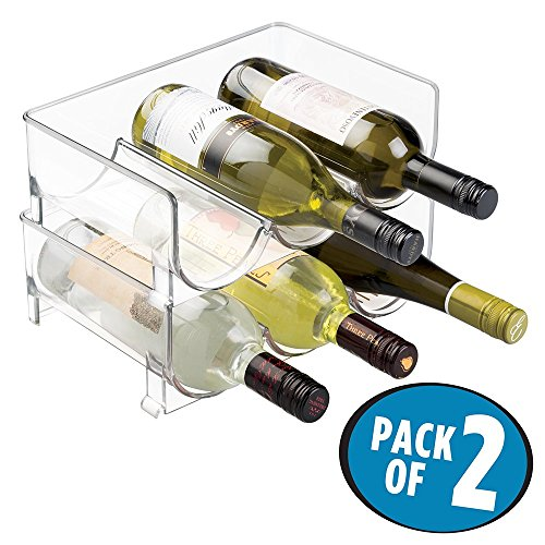 mDesign Stackable Wine Bottle Storage Rack for Kitchen Countertops, Cabinet - Holds 6 Bottles, Clear (Open Storage Wine)