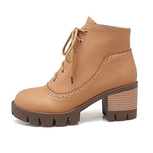 WeenFashion Solid Soft Top Heels Women's Closed Toe Material Round Kitten Yellow Boots Low vTqrv