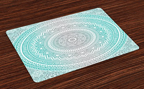 Ambesonne Grey and Aqua Place Mats Set of 4, Ombre Traditional Universe Symbol with Tribal Geometric Mandala Zen Artwork, Washable Fabric Placemats for Dining Room Kitchen Table Decor, Aqua Grey