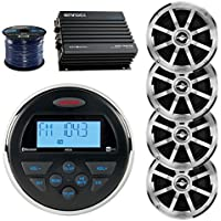 Jensen MS3ARTL Gauge Style Marine Boat Bike Digital Media Bluetooth Receiver Bundle Combo W/ 4x MSX60CPR 6.5 Coaxial Speakers + Enrock 400W 4-Channel Car/Marine Amplifier + 50 Ft 16g Speaker Wire
