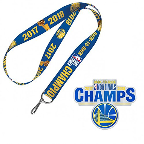WinCraft Bundle 2 Items: Golden State Warriors 2017-2018 Back to Back NBA Finals Champions 1 Lanyard and 1 Auto Badge Decal by WinCraft