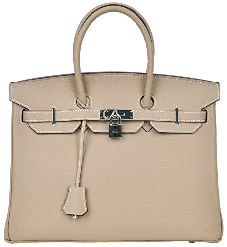 Cherish Kiss Women's Padlock Handbag Genuine Leather Top Handle Bag with Silver Hardware (35CM with Silver Hardware, Taupe with White stitching) by Cherish Kiss