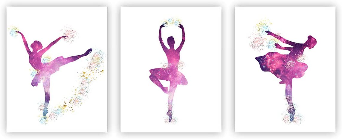 "Ballet Art Painting Posters Ballerina Decor Ballet Dancers Wall Art Pictures Wall Decor Wall Art Poster Set of 3 (10""X8"" Girls Room Women Bedroom Decor(Unframed)"