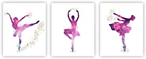 """Ballet Art Painting Posters Ballerina Decor Ballet Dancers Wall Art Pictures Wall Decor Wall Art Poster Set of 3 (10""""X8"""" Girls Room Women Bedroom Decor(Unframed)"""