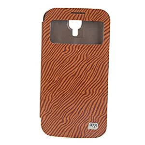 Mzamzi - gran valor pu leather protective case with zebra pattern and retractable bracket for samsung s4 i9500 brown