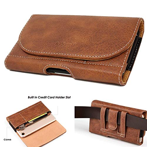 AIScell Belt Hip Wallet Carrying Case for Cellphone, Blown Faux Leather Pouch Card Slot Belt Clip Holster 6.15 X 3.50 X 0.60 Inches Work for iPhone 11, iPhone Xr, Has Hybrid Protective Case Cover on