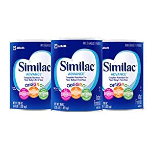 Similac Advance Infant Formula with Iron, Powder, One Month Supply, 36 Ounce (Pack of 3)