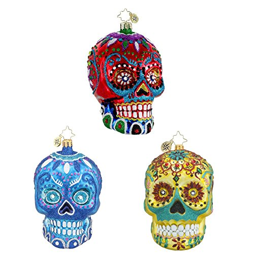 Christopher Radko La Calavera, Blue La Calavera & Calavera de Oro Skeleton Head Themed Glass Christmas Ornaments - Set of (Christopher Radko Halloween Skull)