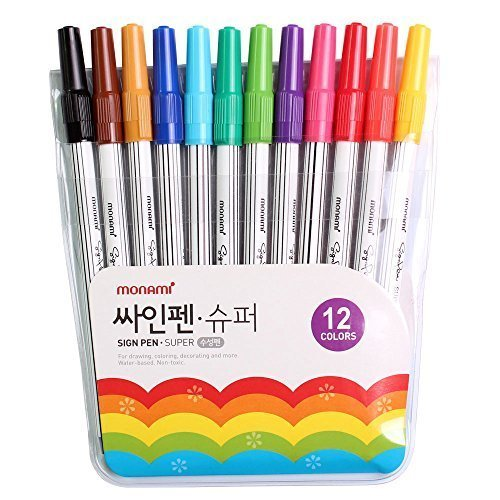 Monami Felt Tip Sign Pen Super Marker for Art Drawing Coloring Decorating - 12 Color Set