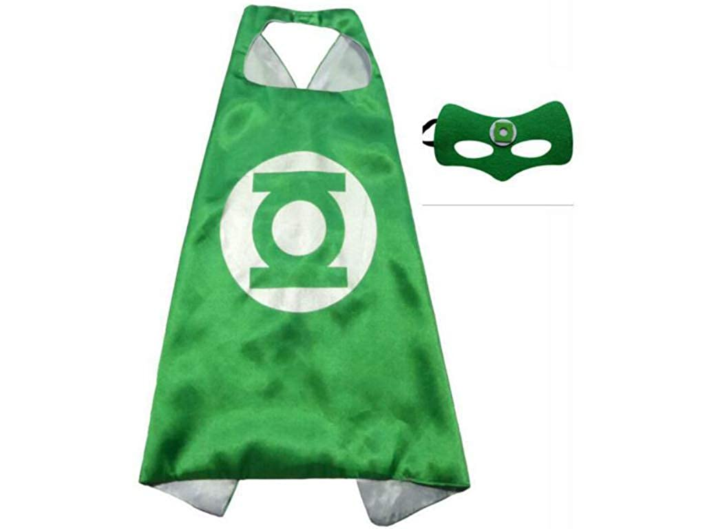 Easy Host Superhero Cape and Mask Kid's Party Costumes 2pcs Cloak and Mask in Green