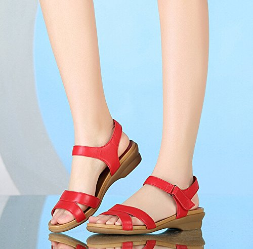 Casual Womens Platform shoes Summer Beach Rome sandal Color Red Size 37 M EU KMkmBE