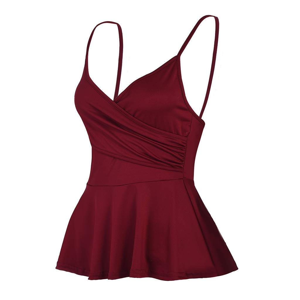 Ulanda Women's Summer Sleeveless V Neck Wrap Front Casual Tank Tops Spaghetti Strap Cami Sexy Camisole Tank Top Plus Size Wine