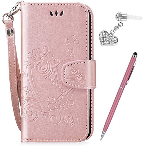 iPhone 6S Plus Case,iPhone 6 Plus Case,ikasus Embossing Love Butterfly Flower Flip Folio Wallet Case PU Leather Stand Protective Case +Touch Pen Dust Plug for iPhone 6S Plus / 6 Plus 5.5