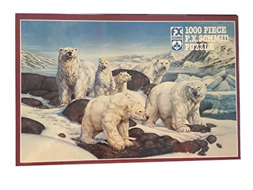 FX Schmid 1000 Piece Puzzle By Artist Timothy Knepp Titled Polar Expedition Featuring A Group of Polar Bears Including Cubs and Adults