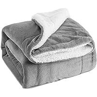 Sherpa Throw Blanket Silver Grey Twin Size Reversible...