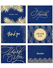Hallmark Thank You Cards Assortment, Gold and Navy (120 Thank You Notes with Envelopes for Wedding, Bridal Shower, Baby Shower, Business, Graduation)