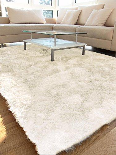 Benuta Whisper Shaggy Hochflor-Teppich | Langflor-Teppich in Weiß für Schlafzimmer und Wohnzimmer | 140x200 cm