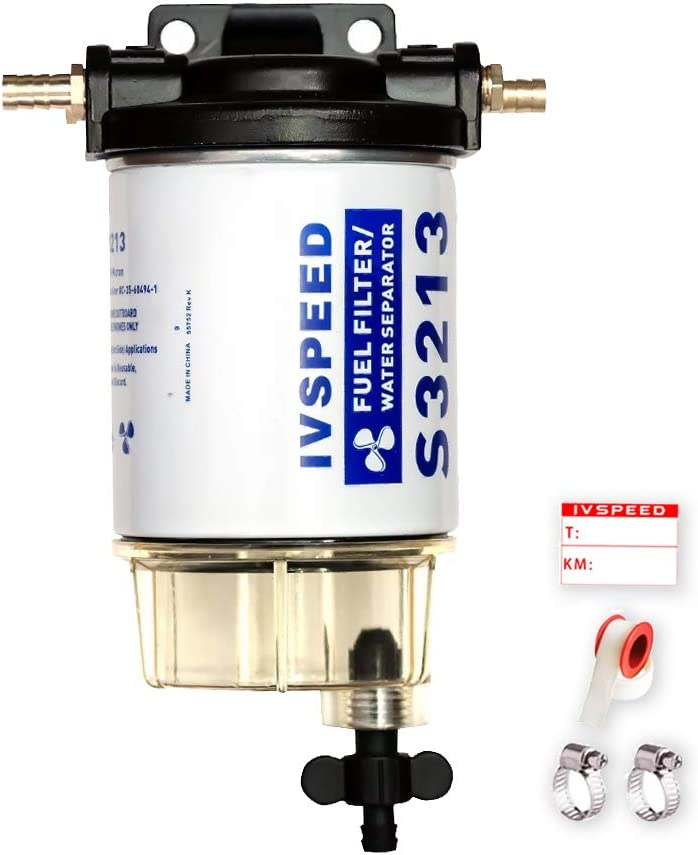 Replacement S3213 Fuel Water Separator Filter Kit Assembly Boat Fuel Filter Marine Engine Fuel Water Separator for Mercury Yamaha Outboard 10 Micron