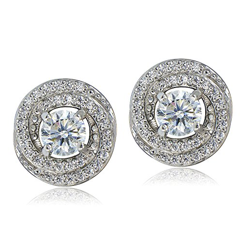 Bria Lou Platinum Flashed 925 Sterling Silver 100 Facets Round Cut Cubic Zirconia Love Knot Stud Earrings (1.37 (Platinum Love Knot Earrings)