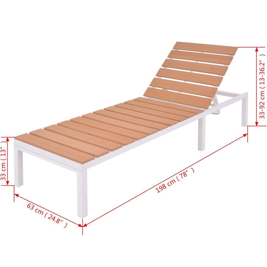 Tidyard Ensemble de Canap/és et Chaise Longue dext/érieur Reglable 20 pcs avec Table en Aluminium WPC Blanc et Marron