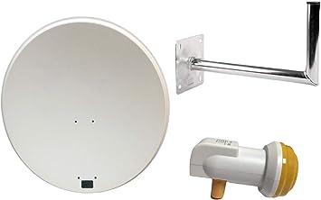 Plato satélite SAB de 80 cm para Sky, Freesat, Polsat, Hotbird, Eurosat y Astra 1 y 2 que viene con soporte de elavación, soporte de plato, brazo de ...