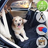 Dog Hammock Seat Cover for Cars & SUV with Side Flaps BARKNPURR PERFECT- Pet Waterproof Back Seat Rear Bench Protector with Non Slip Backing, Seat Anchors, Seat Belt & Latch Openings, Machine Washable