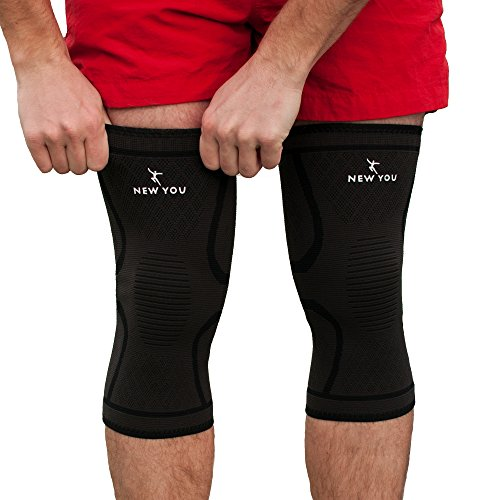 2377064a81 New You Knee Braces Support Compression Sleeves, 1 Pair FDA Approved Wraps  Pads for Arthritis