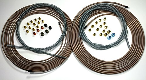 - Complete Copper Nickel Brake Line Kit. 25 ft of 1/4 and 3/16 Rolls/Coils w Fittings /8 ft of 3/16