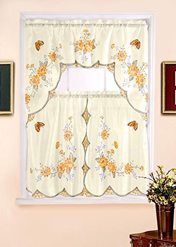 Kashi Home 3 Piece Kitchen Curtain Swag Set with Printed Design and Includes Valance and 2 Panels, Floral