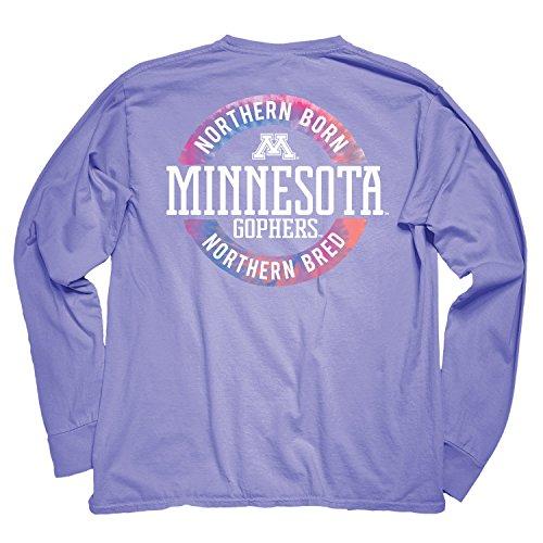 College Long Sleeve Tee - NCAA Minnesota Golden Gophers Adult NCAA Dyed Ringspun Longsleeve Tee with Pocket,Small,Periwinkle