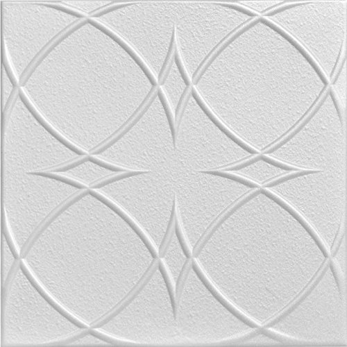 A la Maison Ceilings 1458 Circles and Stars  Styrofoam Ceiling Tile Package of 8 Tiles Plain White