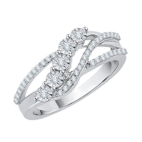 Diamond Bypass Fashion Ring in 10K White Gold (1/5 cttw) (I-Color, SI3/I1-Clarity) (Size-8)