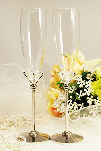 Silver Wedding Glasses Toasting Flute Set Personalized Engraved ()