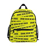 Backpack with Crime Scene Tape Caution Tape Print, Mini School Bags for 1-6 Years Old